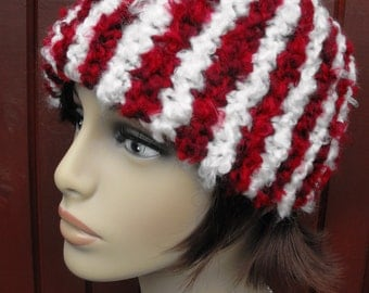 Headband Knitted Red White Stripe for Women and Teenagers