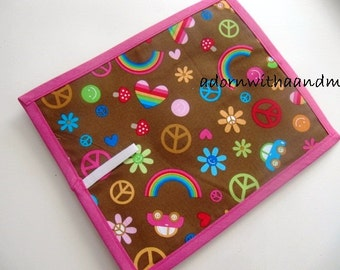 Chalkimamy Peace and rainbows TRAVEL chalkboard mat/ placemat (a)