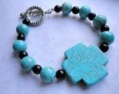 Funky Large Turquoise Stone Cross Chalk Beads Bracelet