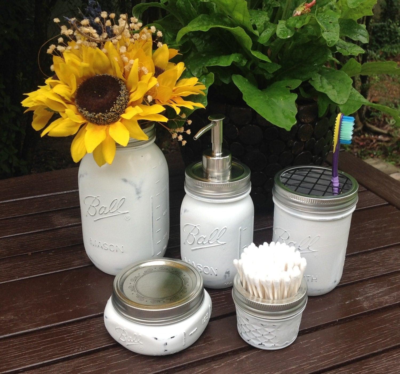 white mason jar bath set shabby chic soap dispenser bath by talona. Black Bedroom Furniture Sets. Home Design Ideas