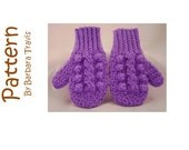 Crochet Pattern Cable Mittens Child sizes S M L