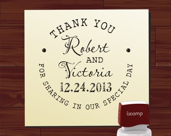 THANK YOU Wedding Stamp with Bride and Groom Names and Wedidng Date - style 6059thankyou