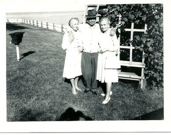 1962 Vintage Photo Russ Hazel And Billie Lucky Guy With 2 Girls Mid Century Snapshot Photograph
