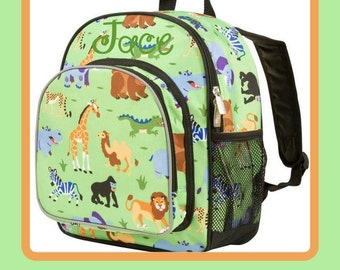 Monogram Backpack and Lunch Bag - Wildkin - Wild Animals - Preschool Day Pack