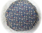 Vintage Feedsack Feed Sack Fabric Circles Federal Blue 12 -  5 inch Yo Yo Circles