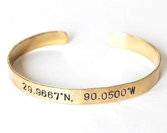 "Bracelet - Gold Brass Cuff Coordinates Bracelet - Narrow 1/4"" Wide - Custom Letter Stamped Cuff - Names, Mothers Bracelet - Mother's Day"
