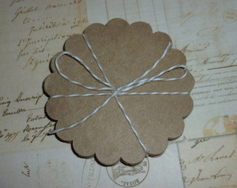 Kraft Paper Scallop Rounds 3 inch set of 25 scrapbooking tag making papercrafting wedding favor tags embellishments