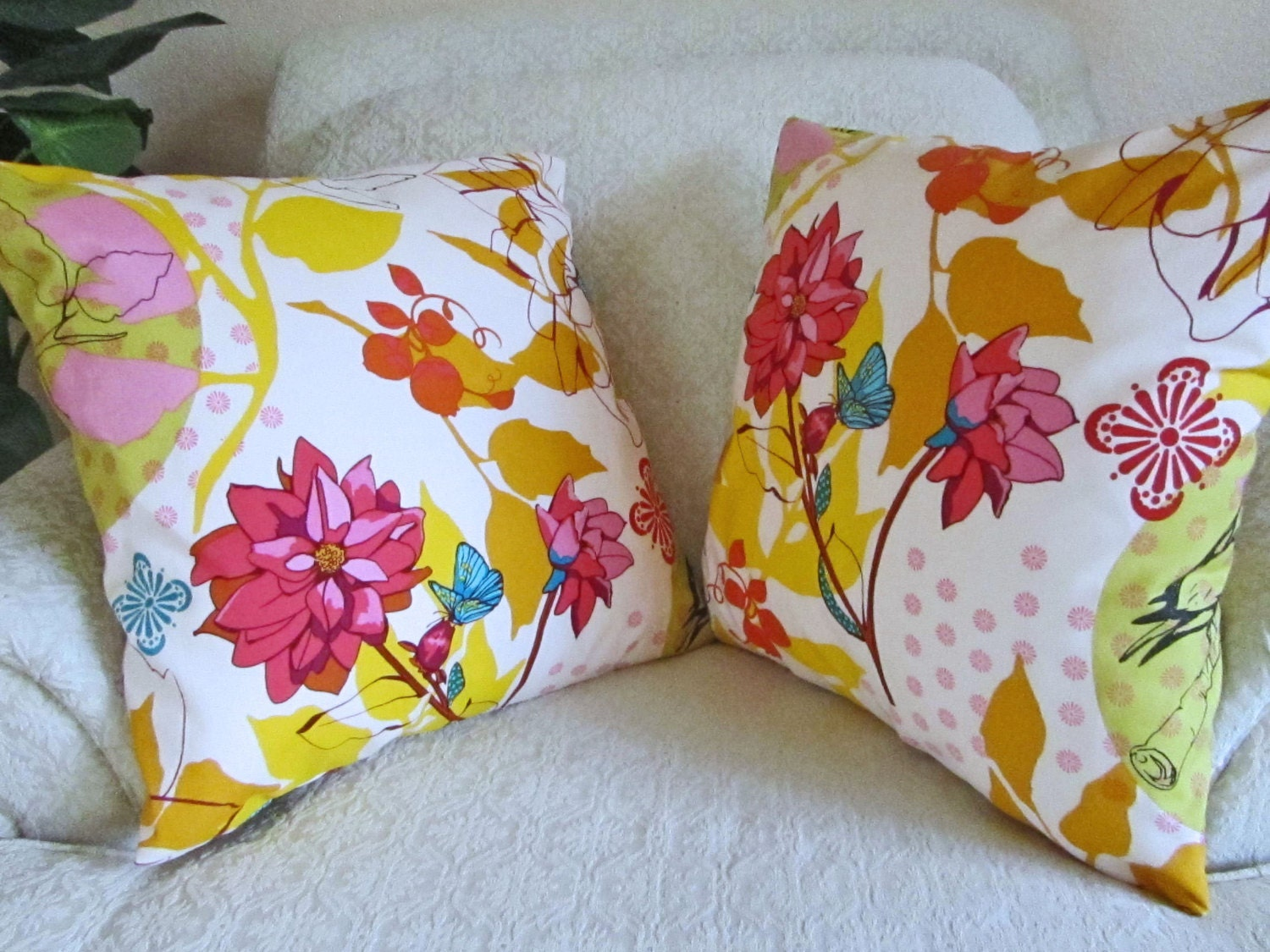 Decorative Floral Pillow Covers : Bright Floral Pillow Covers Yellow Throw Pillow Covers Pink