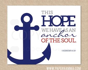 Hebrews 6:19, Anchor of the soul // Ocean Nautical themed Giclée Art Print for Nursery / Child's Room // N-G33-1PS AA1