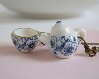 Teapot Tea Cup Earrings, Classic Blue Flower Miniature Set, Tea Party Jewelry