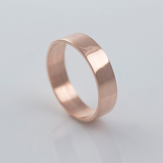 Rose Gold Wedding Bands Recycled Hand Forged 14k By The Hippie Corner