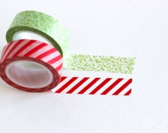 SALE Red and Green washi tape set, Candy Cane Stripe and floral, Christmas washi tape Japanese masking tape craft supply, set of 2