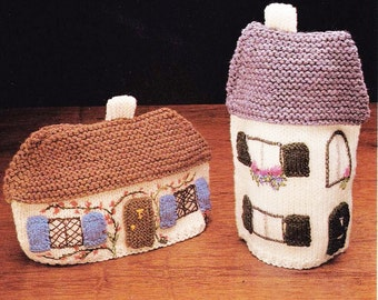 2 Knitted Cottage Tea Cosies - Digital Pattern