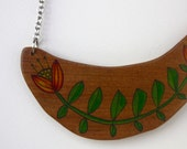 Illustrated Spring Flowers Wood Necklace Pendant - Repurposed Timber Wood Eco - Handcrafted