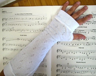 Eyelet White Mori Girl Fingerless Gloves for the Forest Girl