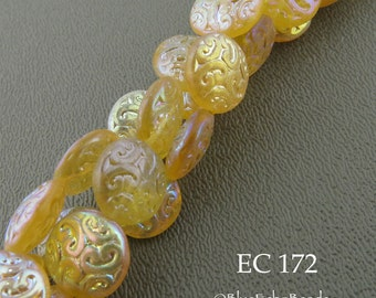 14mm Brocade Coin Czech Glass Beads, Yellow Lemon Sherbet (EC 172) 6 pcs BlueEchoBeads