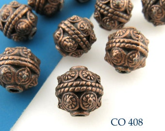 Copper Bead 10mm Minoan Style with Circles (CO 408) 6 pcs BlueEchoBeads