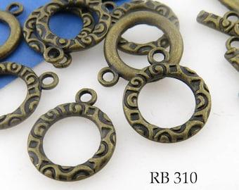 17mm Antique Brass Toggle Clasp Decorative (RB 310) 4 sets BlueEchoBeads