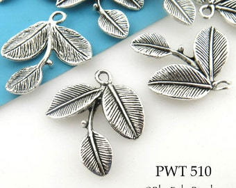 27mm Triple Leaf Pewter Charm (PWT 510) 8 pcs BlueEchoBeads