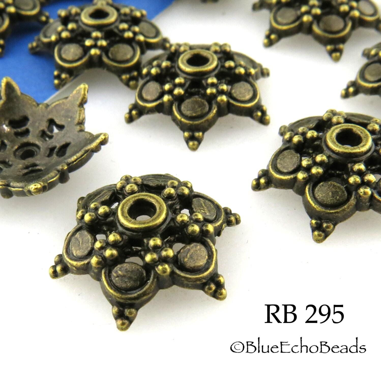 Large Antique Brass Bead Cap Star Bead Cap Antique Bronze 15mm - photo#3