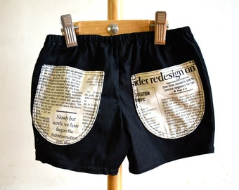 NEWSPAPER BOAT baby boy shorts, toddler bottoms, boys shorts, boys summer bottoms, black toddler shorts, baby boy summer trousers