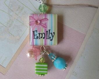 Personalized scrabble tile pendant