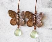 Butterfly Earrings Green Gemstone Prehnite Copper Pale Celadon Cucumber Green Dew Drops