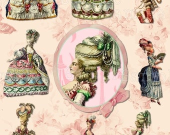Marie Antoinette Clipart, Digital Collage Sheet, Art, Fashion Plate, ACEO, Digital Art, Hang Tags, Truth Cards, Book marks, or Wallet cards