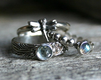 Mini Dragonfly Stack...Set of Three Stacking Rings in Sterling Silver with Sky Blue Topaz and Labradorite Gemstones