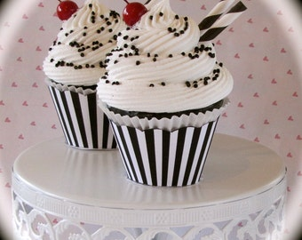 Fake Cupcake (1) Black and White Cupcake Collection Black White Sundae Standard Size 12 Legs Original Design