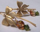 Gold butterfly and swaroski crystal dangle earrings