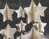 Choose Your Book Vintage Novel - Map - Music -Traditional  Paper Mobile -Star Mobile - Nursery Decor - Home Decor - 3D Paper Mobile - Stars