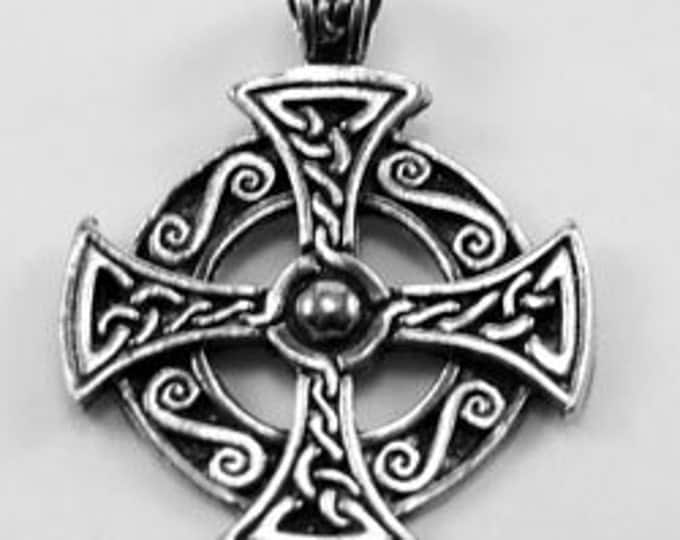 Celtic cross in circle made with Australian Pewter R331