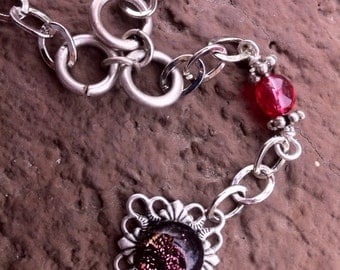 Pink Dichroic glass on antique silver filigree..necklace