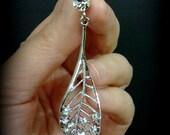 Leaves Bridal Earrings, Clip On Earrings, Leaf Jewelry, Long Dangle Earrings, Screw Back Earrings, LEAFY