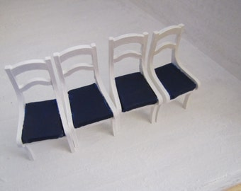 dollhouse miniature chairs set of 4 white with blue seats