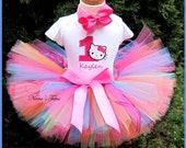 3pc, Birthday Kitty with Number,  Party Outfiit, Birthday, Theme Party, Personalized, in Size 1yr thru 5yrs