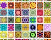 Kaleidoscope Inchies no.3 Digital Collage Sheet 1x1 Inch Squares 63 Different Images Scrapbooking