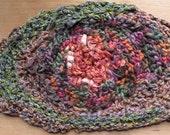 Headband wide hair band dread head wrap, crochet copper brown green, bohemian hippie, stretch silk cotton merino wool LifesAnExpedition i713