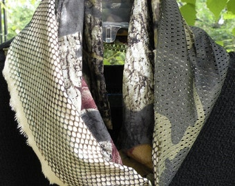 Men's scarf, camo military tactical camouflage, olive drab green beige black brown, army marines long woven cotton mesh net