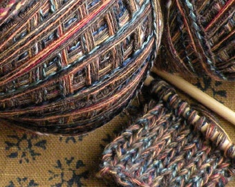 Yarn light worsted DK 200 yards Inca cotton blend brown tan blue green red gold, tribal rustic primitive textured art yarn knitting lot
