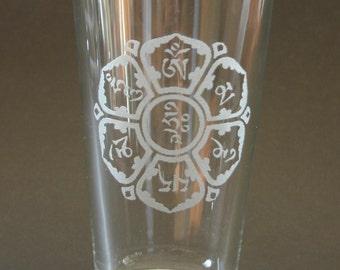 Om Mani Padme Hum Etched Pint Glass Tibetan Script Engraved Beer Glass