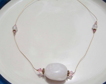 Handmade Rose Quartz Necklace with Rose Czech Glass Accents