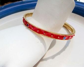 Vitnage Gold toned Red Glaze Bangle Bracelet