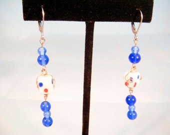 Blue Czech Glass Earrings with Wire Wrapped Glass Bead