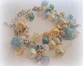 Vintage Style Aqua,Teal AB crystals Swarovski Pearls Poly Clay Chunky Charm Bracelet