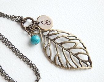 Personalized Antique LEAF Monogram Long Necklace