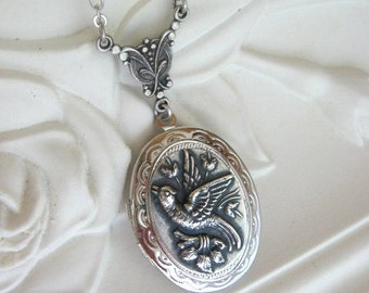 Song Bird Locket, Song Bird Necklace, Silver Locket Necklace, Birds, Bird Jewelry, Antique Locket, Keepsake Locket, Gift for Her