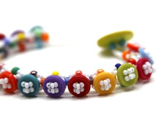 Beaded Bracelet - Button Embellished - Rainbow Bright Colorful Multicolored by randomcreative on Etsy