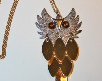 Graceful Owl Vintage 1970s Necklace Amber Eyes Articulated Gold Silver